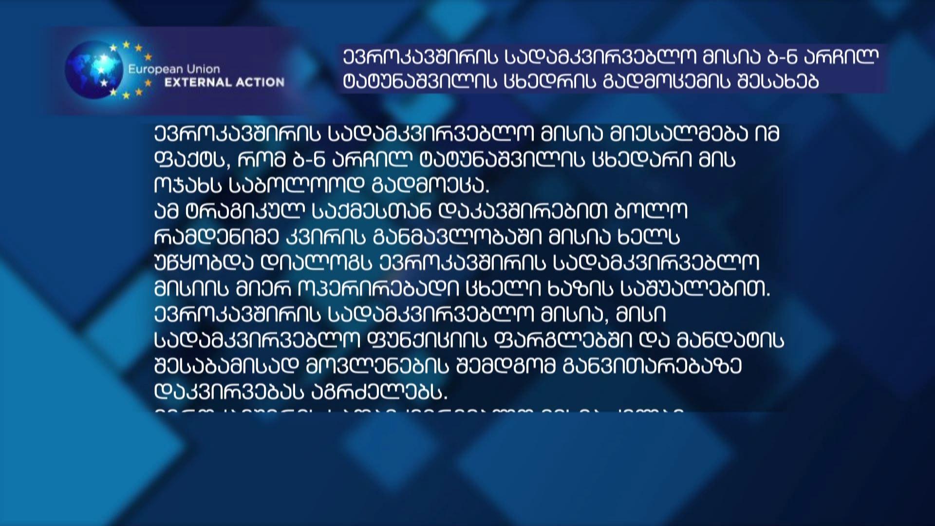 EU statement on Tatunashvili's life-threatening case