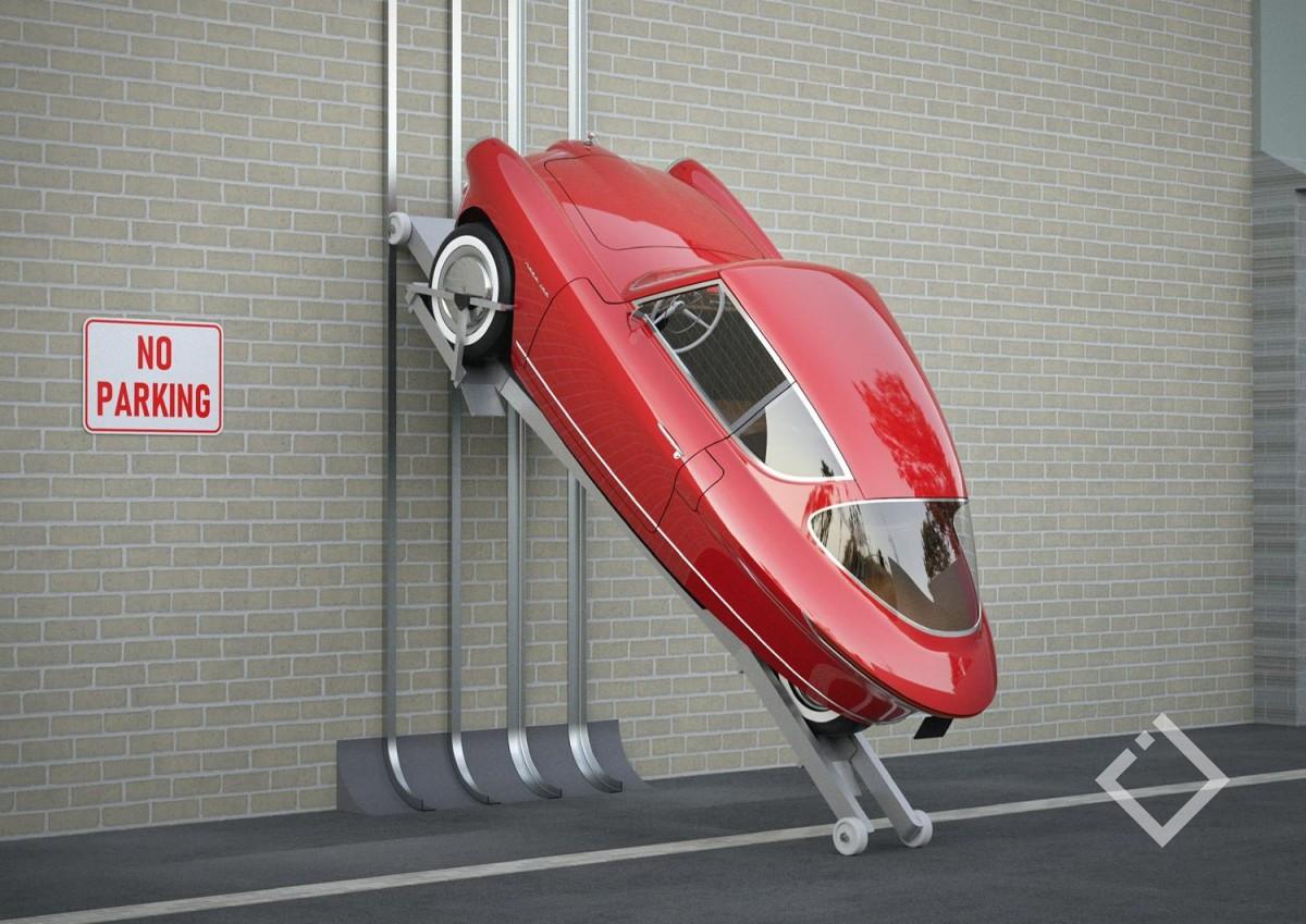 ავტომობილი,რომელიც კედელზე პარკინგდება